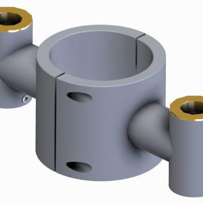 Spændbeslag dobbelt, Ø20 x 70 x 20mm rør/søjle, JB 020-70-20