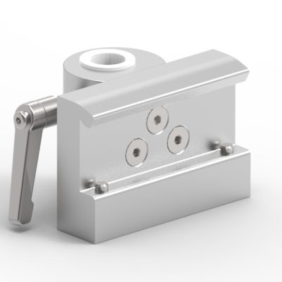 Slide clamp, wide, fixing device Ø18mm hole, locked using 2 socket screws, JB 206-03-18