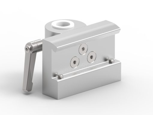 Slide clamp, wide, fixing device Ø18mm hole, locked using 2 socket screws, JB 206-03-18