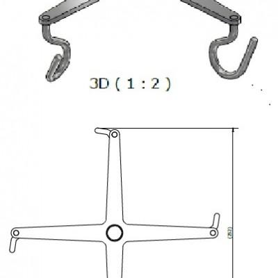 Bottle holder, quadruple for IV Pole, JB 190-00-08