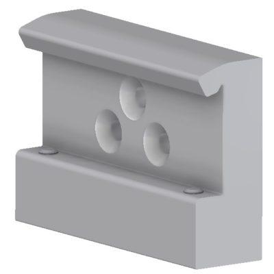 Rail clamp, wide model with 2 grub screws & 3 holes, JB 206-00-00