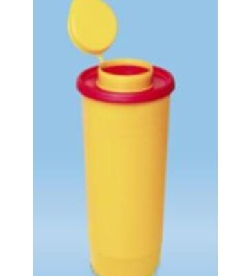 "Multi-Safe quick, kanylebøtte gul, låg m. rund åbning, ""høj"", 500 ml, JB 31-543-21-01"