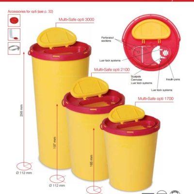 Multi-Safe opti, kanylebøtte, gul låg, oval