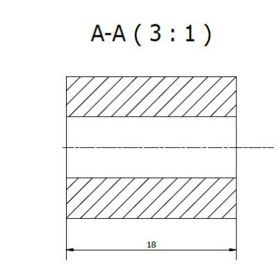 Spacer to two types of wall rails, length 18mm, JB 400-00-18