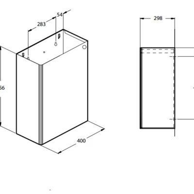 Affaldsbeholder, rustfast stål, væghængt, 64 liter