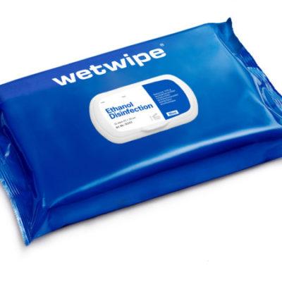 Wet Wipe, med ethanol, uden sæbe, MAXI, 70% alkohol, blå, 43×30, 51153