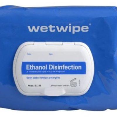 Wet Wipe, med ethanol, uden sæbe, mini, 70% alkohol, blå, 30x20, 51133