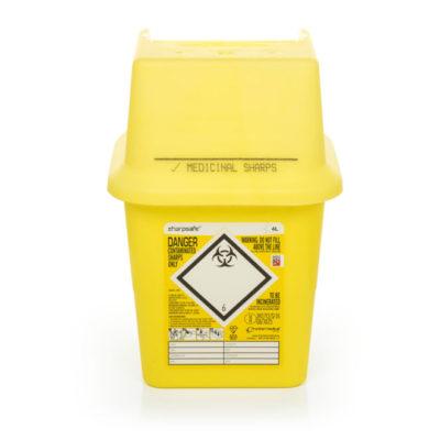 Kanyleboks, Sharpsafe, firkantet, gul 4 Liter, JB 228-110
