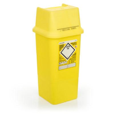 Sharpsafe, boks, firkantet m/låg, gul, 7 l, JB 315-42-11
